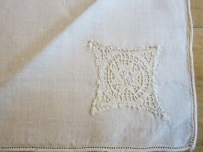 "Vintage Country Chic White Linen Lot of 11 Napkins Crochet Lace Inset 16"" Square"