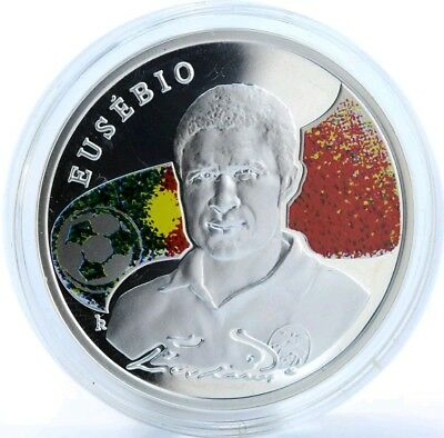 2008 100 dram EUSEBIO KINGS of Football Proof Silver Coin. ARMENIA.