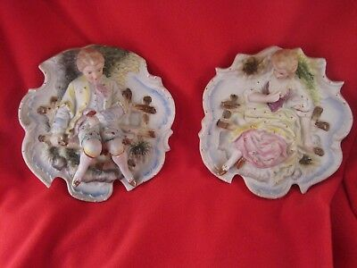 Vintage Chase Hand Painted Wall Plaques, Japan