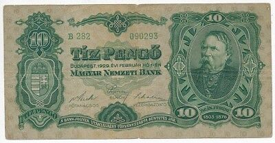 1929 Hungary 10 Pengo Note-A Nice Circulated Hungarian Note-Ships Free!