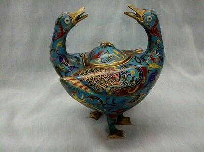 Rare antique Chinese bronze gold plate  cloisonne 2  ducks teapot