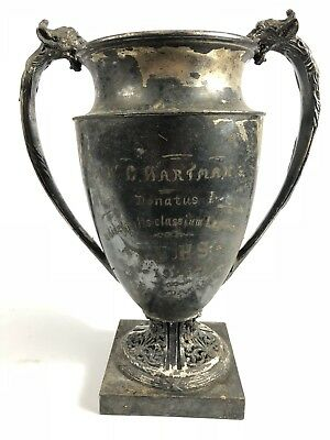 Antique W. Hartman Potsdamn NY Highschool Silver Plate Trophy Cup