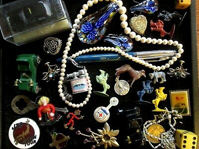 Junk Drawer Lot Old Lead Figirines, Toy Cars, Jewelry, more