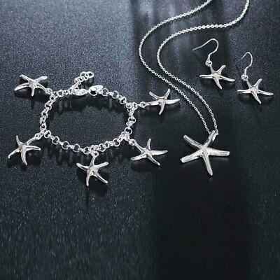 Necklace Earrings Bracelet Three Pieces Jewelry Sets Silver Starfish Women Gift