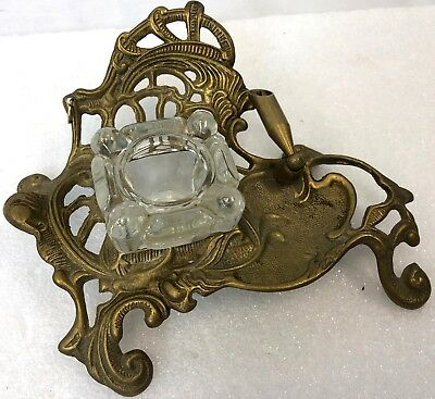 "Vintage 7"" French Style Victorian Ornate Cast Brass Metal Glass Ink Pen Holder"