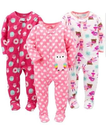 e6f81fc2a7082 Simple Joys by Carters Baby Girl 3 Pack Flame Resistant Fleece Footed  Pajamas 5T