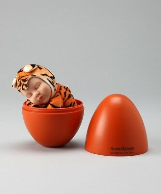 NEW Anne Geddes 9in Plush Tiger Sleeping Baby Doll In Orange Egg NIB