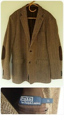 Ralph Lauren ×Pure Lambs Wool× Brown Blazer Made In Italy Leather Elbow Pads XL