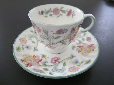 Vintage Minton 1451 Haddon Hall Demitasse Cup and Saucer Floral W/Green Trim