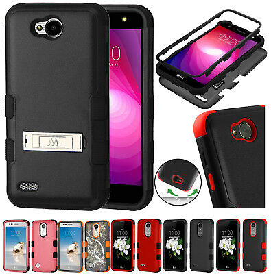 for LG X Power 2, Fiesta LTE L64 LV7 TUFF Rugged Rubber Case Cover Stand+PryTool