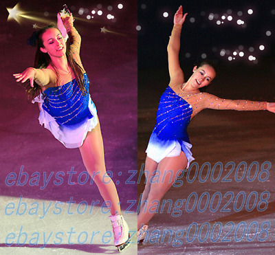 Ice Skating Dress.Blue Twirling Figure Skating Competition Dress.Dance Custom