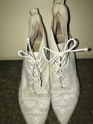 Peter Fox Leather Vintage Granny White Leather Lace Boots  Size 7.5 EUC