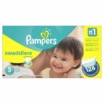 Pampers Swaddlers Disposable Baby Diapers Size 5, Economy Pack Plus, 124 Coun...
