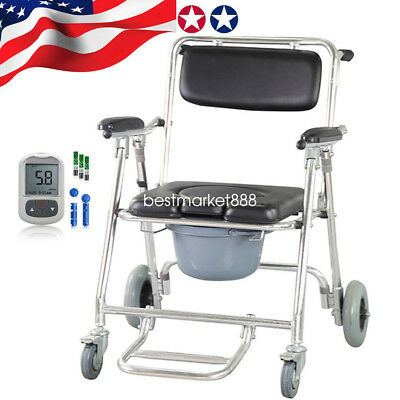 Professional Commode Wheelchair Bedside Toilet & Shower Chair Aluminum WIth Gift