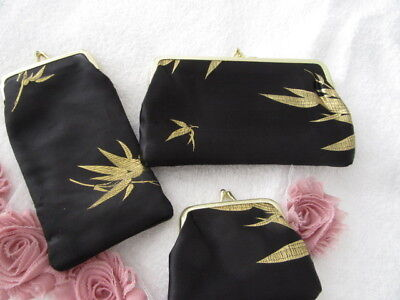 Stunning Vintage  Black And Gold 3 Pcs Purse Set    Gorgeous
