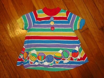 Vintage BUSTER BROWN Colorful Girls 4T Cotton Blend Striped Dress. Made in USA