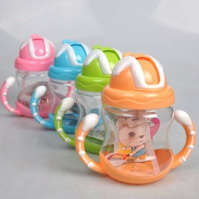 AU Baby Non-Spill Silicone Sippy Cup Kids Handles Straw Trainer Drinking Bottle