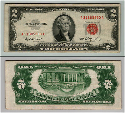 (1)-1953  Series United States Note Red Seal $2 Two Dollar Bill  LT Z898