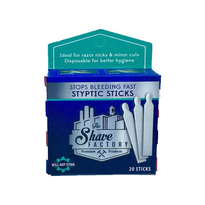 The Shave Factory Styptic Sticks - Stop Bleeding Fast - 20 Single Styptic