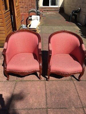 Pair of Edwardian style Inlaid Tub Chair