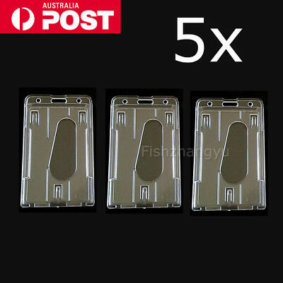 5 x Clear Vertical Hard Plastic Business ID Card Badge Holder Double-sided OZ