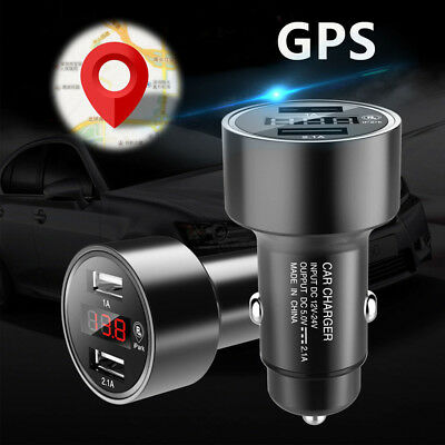 Dual USB Port 2.1A Car Charger GPS Tracker LCD Tracking Device Locator Voltmeter