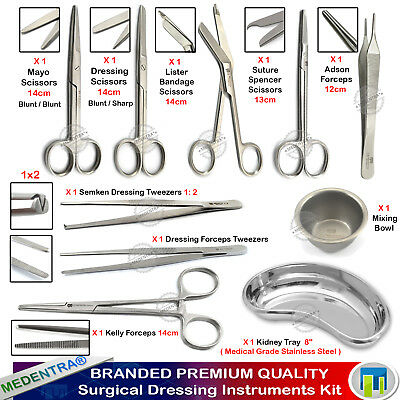 Dental Dressing First aid Nursing Instruments Surgical Scissors Tweezers+Tray CE