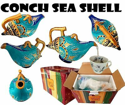 conch shell Collectable Ceramic Novelty Tea pot Teapot Animal hand painted gift