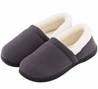 Men's Comfy Fuzzy Knit Cotton Memory Foam House Shoes Slippers w/Indoor, Outdoor