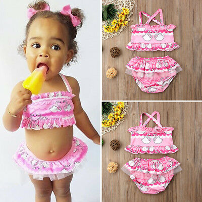 AU Newborn Kids Baby Girl Swan Tankini Swimwear Swimsuit Bikini Set Bathing Suit