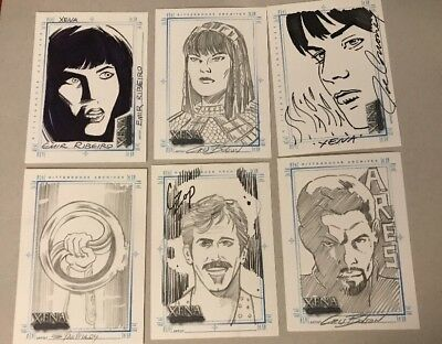 Lot Of 6  XENA Art & Images Hand Drawn Sketch Card SketchaFEX Various Artist