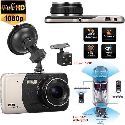 4'' Dual Lens Dashcam KFZ Car DVR Autokamera Full HD 1080p Nachtsicht Videos DE