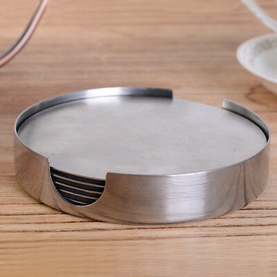 6 PCS Coasters - Stainless Steel Holder with Coaster Set - Bar Drink Cup Holders