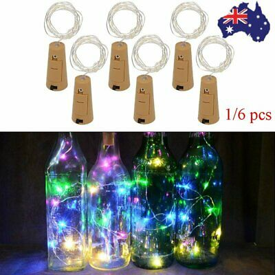 6X Copper Wire Wine Bottle Cork Battery Operated Fairy String Lights 1M 10LED AU