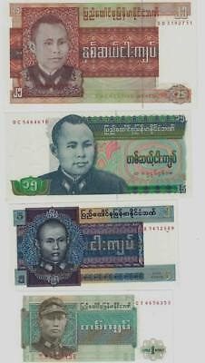 Burma set of 4 Banknotes mint Uncirculated - 1972 to 1986 - #B1x3 05
