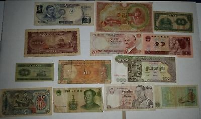 13 old paper banknotes from around the world