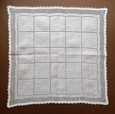 Vintage 1920s Fine White Linen Women's Handkerchief- Drawn Threadwork