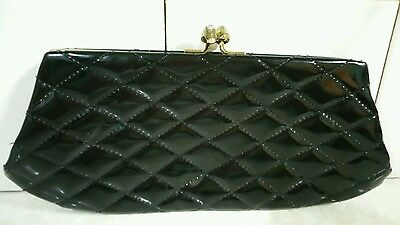 Black vintage quilted clutch purse evening bag pinup rockabilly retro plastic