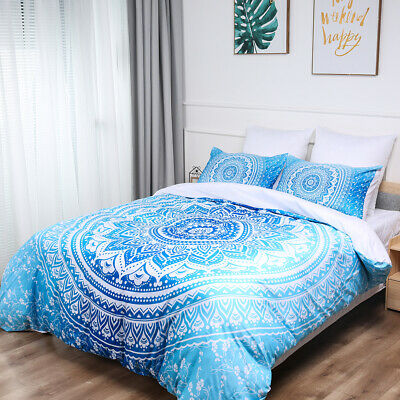 Blue Mandala Quilt Duvet Doona Cover Set Single/Double/Queen/King Size Bedding