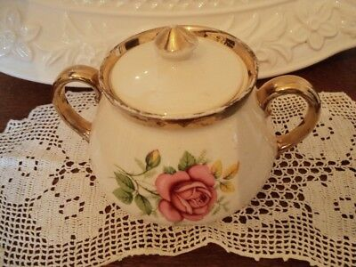 gibsons  staffordshire china sugar bowl vintage roses shabby yet chic