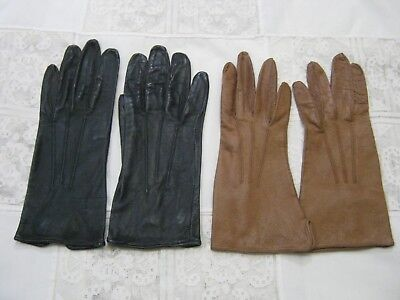 Vintage Ladies Leather Gloves (2)  Small Size. Black & Brown