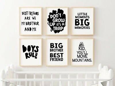 Brother Don't Grow Up Prints / Set Black & White Nursery Kids Boys Room Wall Art