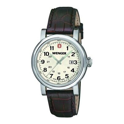 Wenger 01.1041.101 Urban Women's Brown Leather Band With White Analog Dial Watch