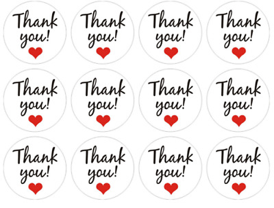 "Kraft Paper Heart ""Thank You"" Adhesive Seal Sticker Label Envelope Decor (Bulk)"