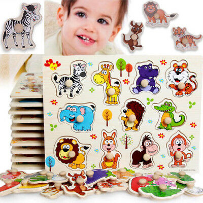 11Pc Intelligence development Puzzle Jigsaw Educational Baby Toys Wooden Animals