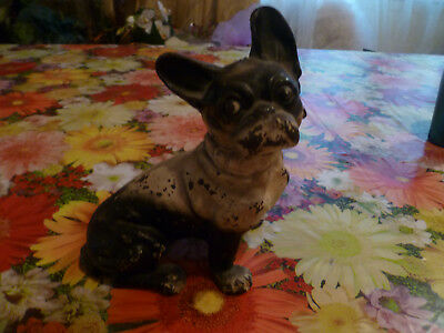 Vintage Cast Iron French Bull Dog Doorstop