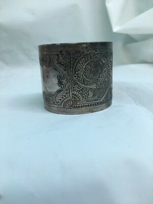 Vintage Napkin Ring Silver Plate Highly Engraved