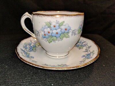 Vintage Early mid-century Roslyn China May tea set Blue Flowers