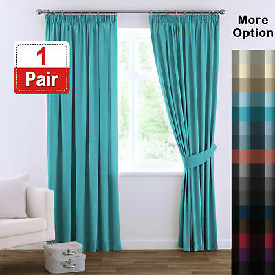 Blockout Curtains Bedroom Blackout Curtains Pencil Pleat Thermal Insulated Pair