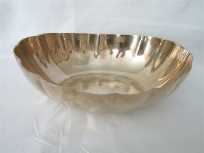 Vintage Large Heavy Solid Brass Scalloped Oval Centerpiece Bowl 2.5 Lb Art Deco